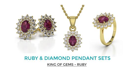 Ruby & Diamond Pendant Sets
