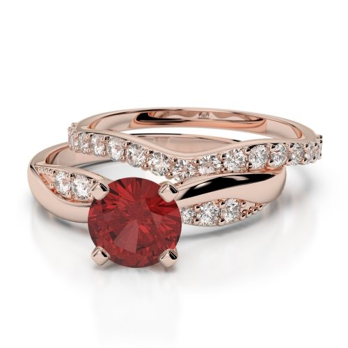Garnet Bridal Set Rings