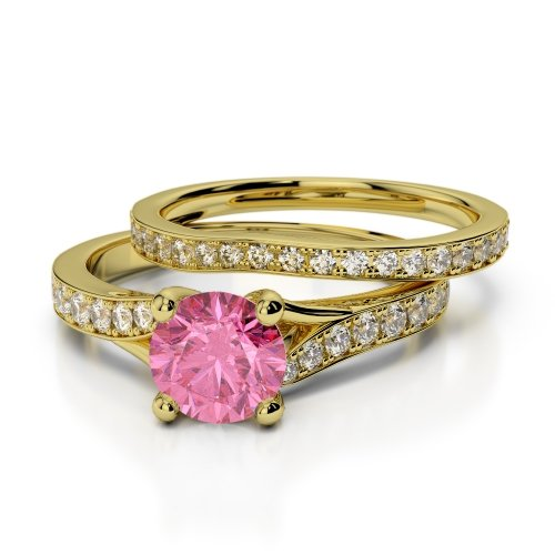 Pink Tourmaline Bridal Set Rings