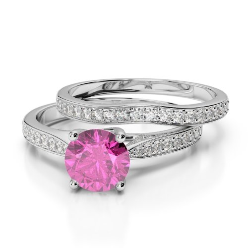Pink Sapphire Bridal Set Rings