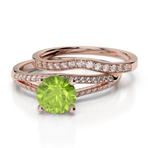 Peridot Bridal Set Rings