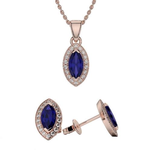 Blue Sapphire Pendant Sets