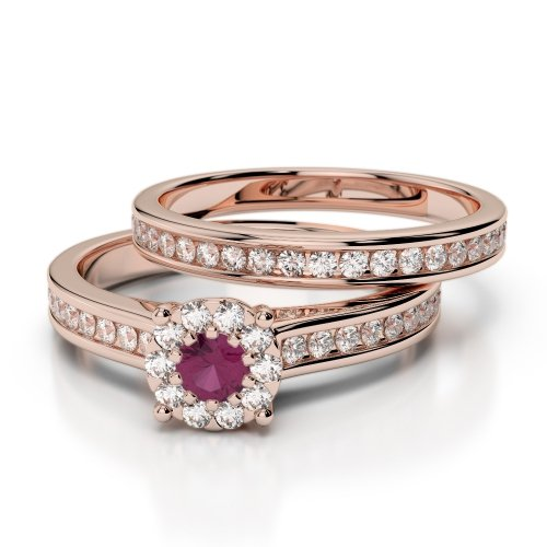 Ruby Bridal Set Rings