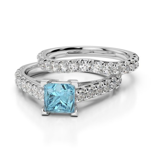 Aquamarine Bridal Set Rings