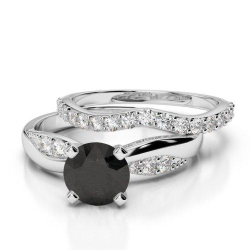Black Diamond Bridal Set Rings