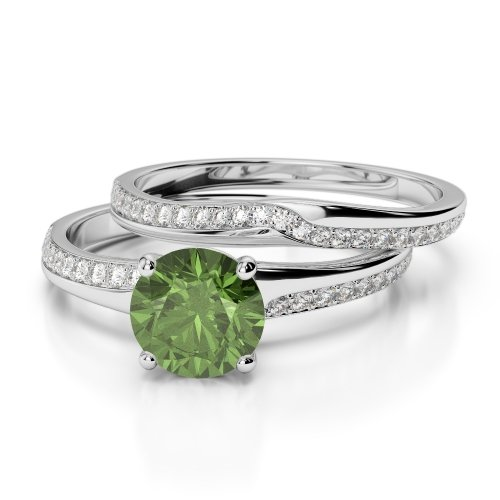 Green Tourmaline Bridal Set Rings