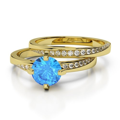 Blue Topaz Bridal Set Rings