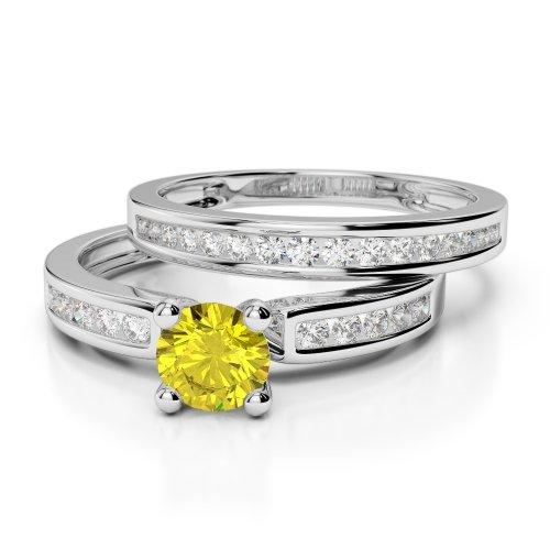 Yellow Sapphire Bridal Set Rings