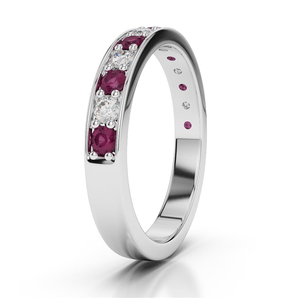Ruby & Diamond Eternity Ring in Platinum 950 AGDR-1084-M 1/2