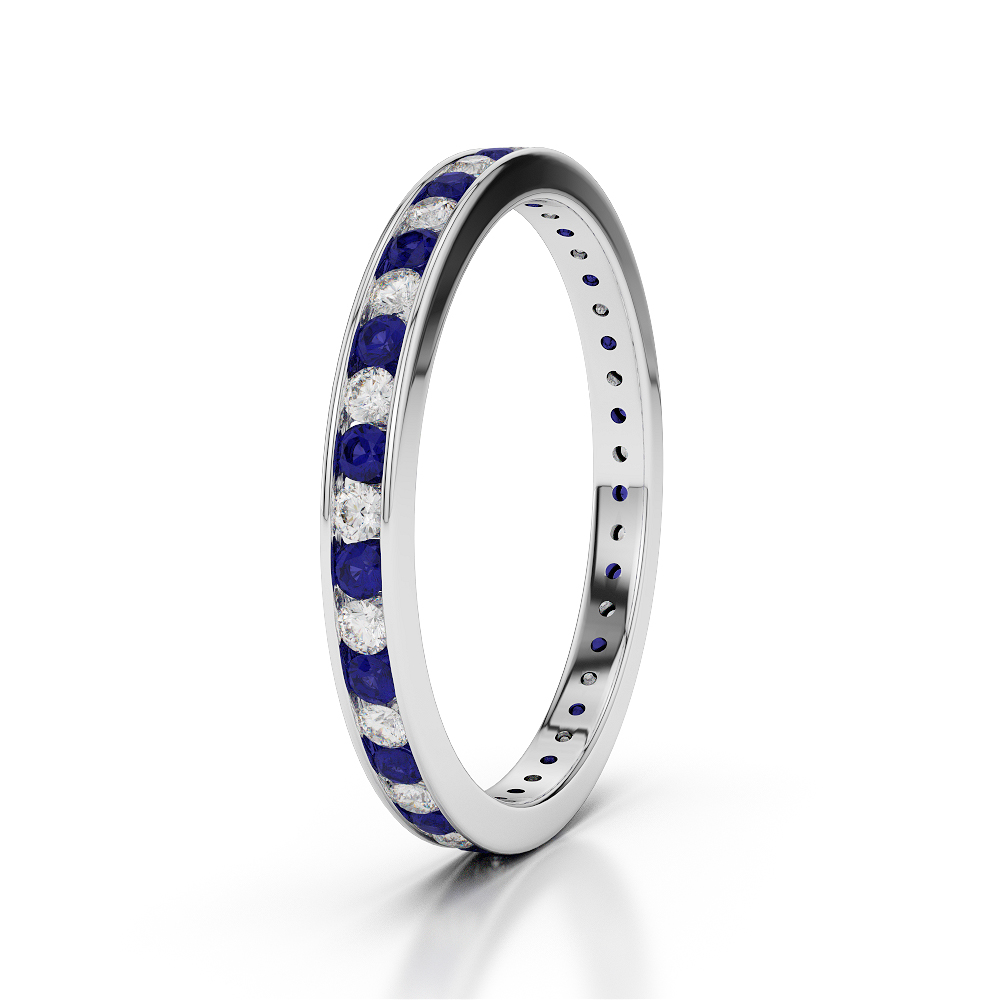 18 KT White Gold Diamond & Blue Sapphire Full Eternity Ring AGDR-1086-O 1/2