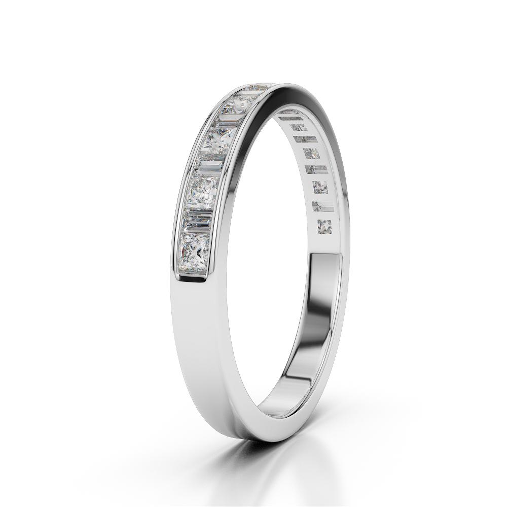 Princess & Baguette Cut Diamonds Half Eternity Ring in Platinum 950 AGDR-1142-Q 1/2