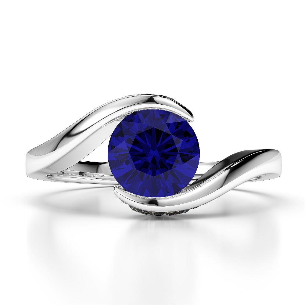 18 KT White Gold Diamond & Blue Sapphire Engagement Ring AGDR-1209-N