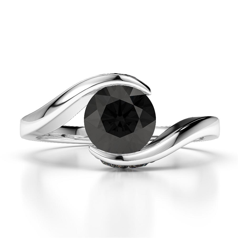 18 KT White Gold Diamond & Black Diamond Engagement Ring AGDR-1209-N