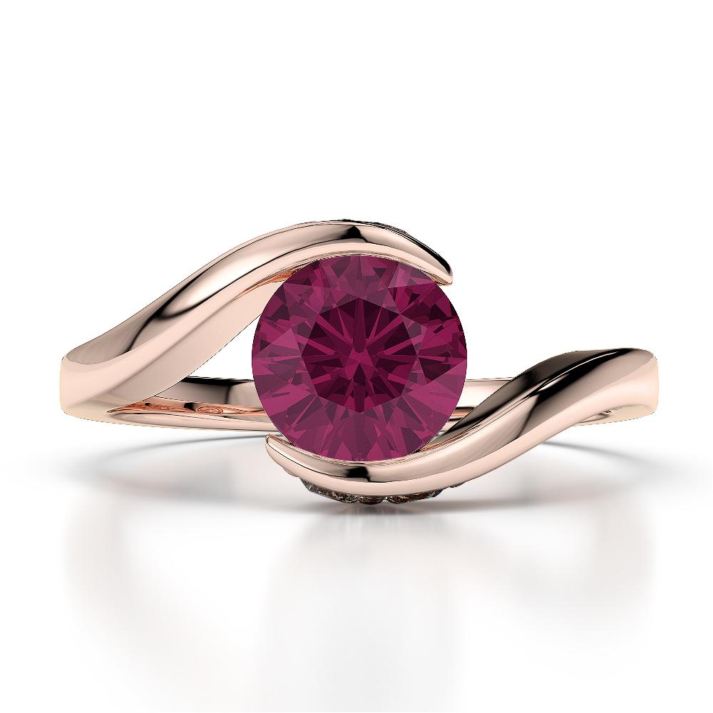 18 KT Rose Gold Diamond & Ruby Engagement Ring AGDR-1209-K