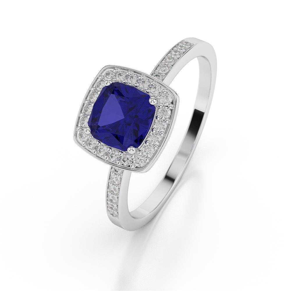 18 KT White Gold Cushion Blue Sapphire & Diamond Ring AGDR-1061-L 1/2