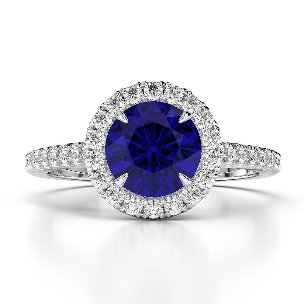 18 KT White Gold Diamond & Round Black Diamond Engagement Ring AGDR-1215-L