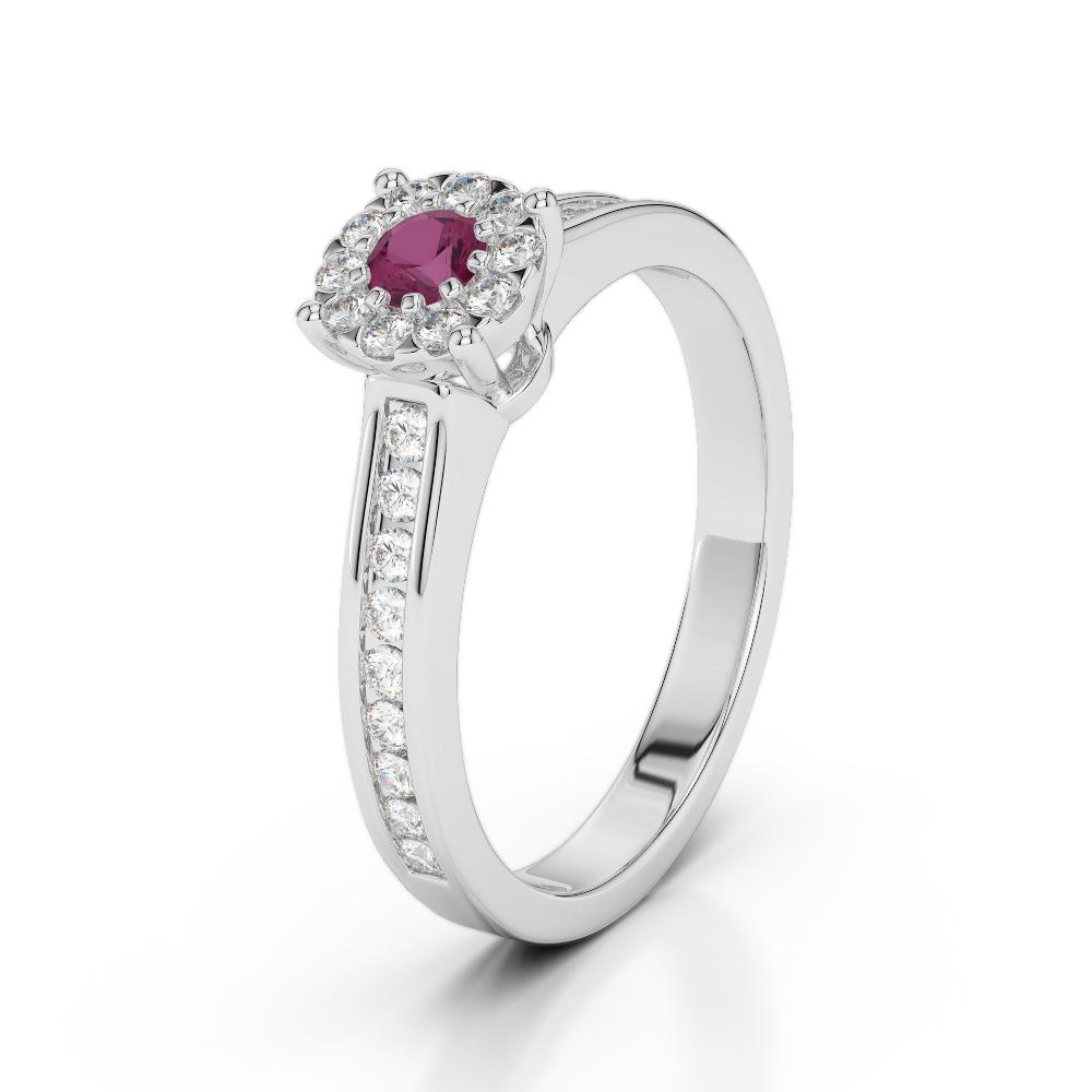 18 KT White Gold Diamond & Ruby Engagement Ring AGDR-1190-L