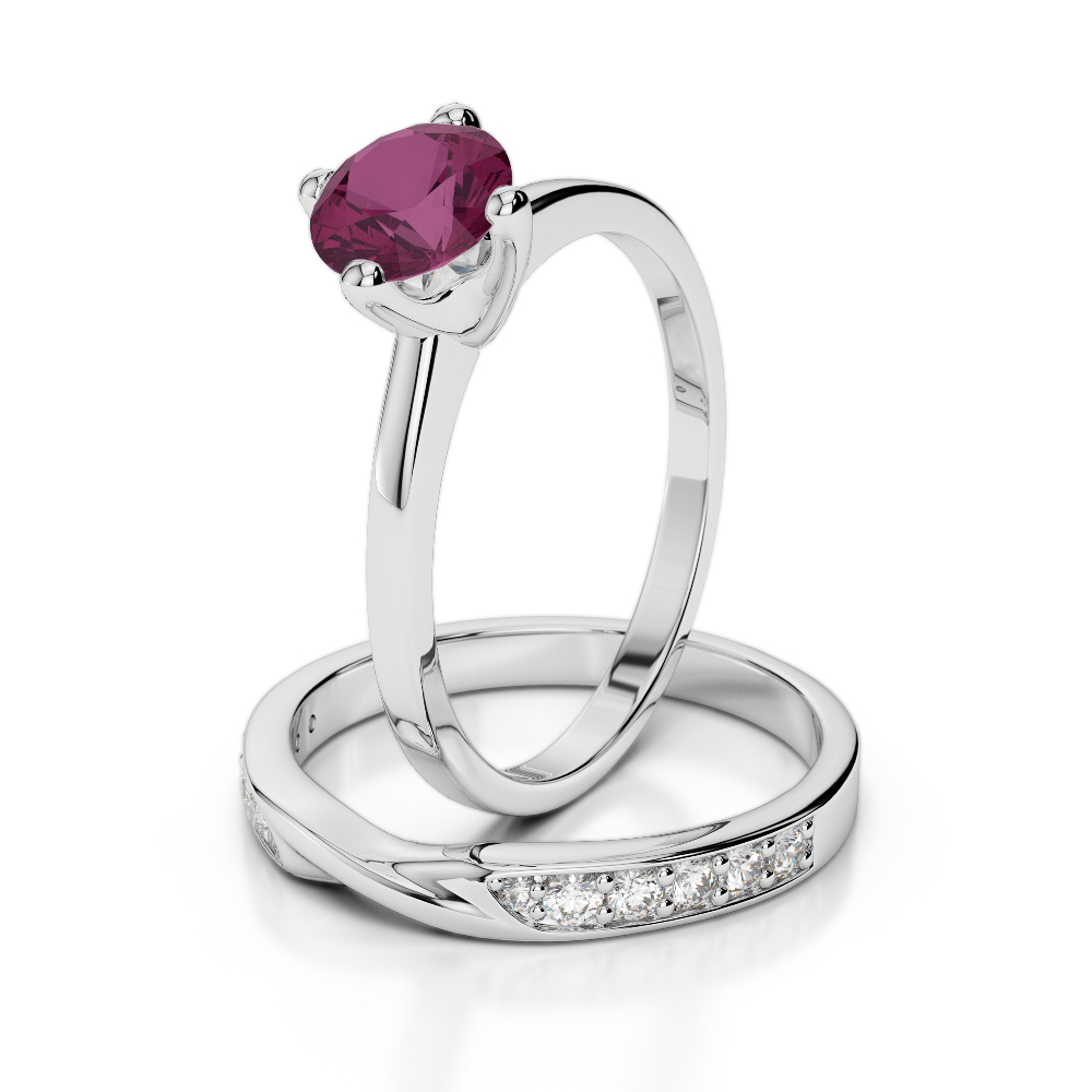 18 KT White Gold Diamond & Ruby Bridal Set Rings AGDR-2027-K