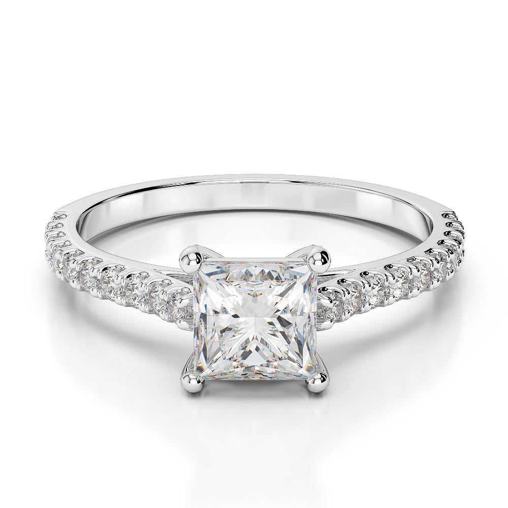 18 KT White Gold Princess Diamond Engagement Ring AGDR-1217-K-K1/2-L