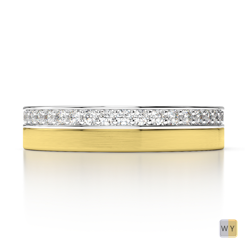 White & Yellow Gold Mens Fusion Diamond Wedding Ring AGDR-1287