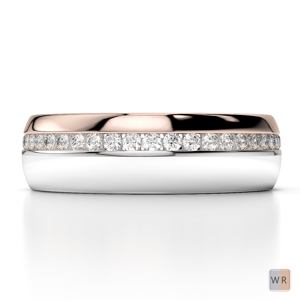 White & Rose Gold Mens Fusion Diamond Wedding Ring AGDR-1288