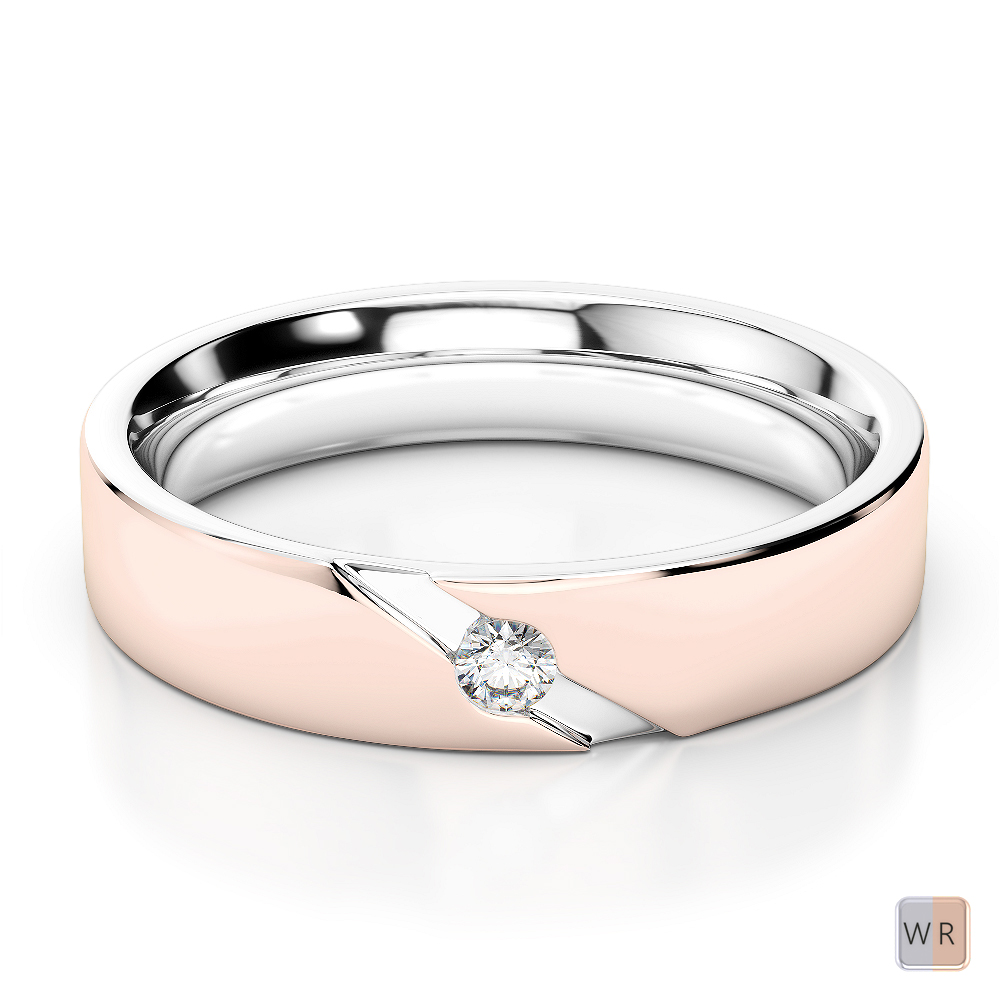 White & Rose Gold Mens Fusion Diamond Wedding Ring AGDR-1289