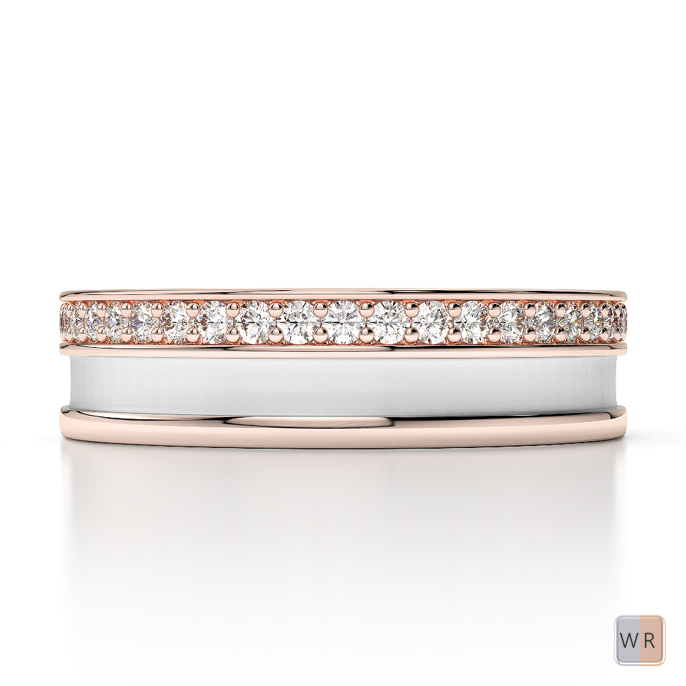 White & Rose Gold Mens Fusion Diamond Wedding Ring AGDR-1290