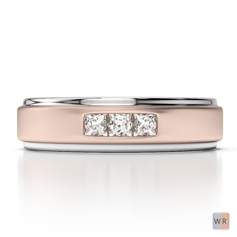White & Rose Gold Mens Fusion Diamond Wedding Ring AGDR-1292