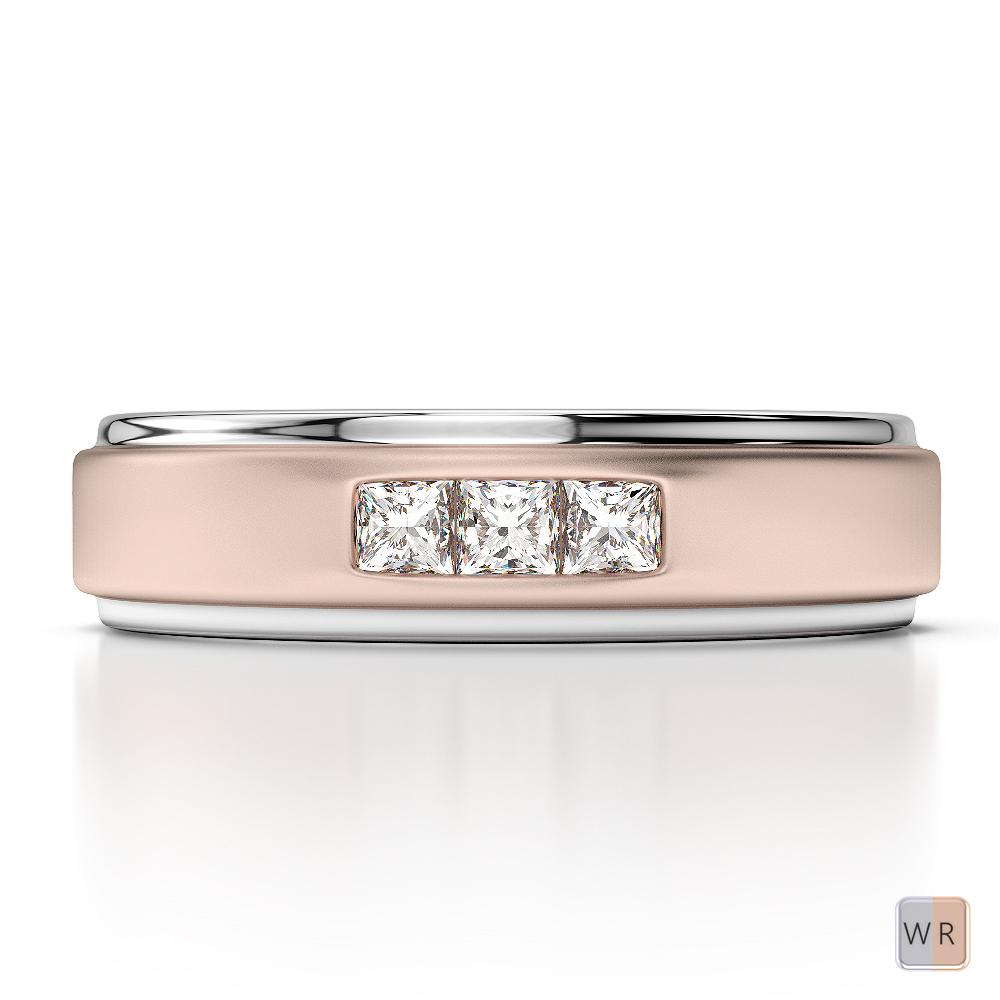 White & Rose Gold Mens Fusion Diamond Wedding Ring AGDR-1292