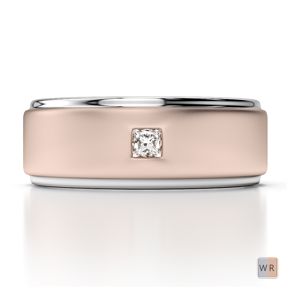 White & Rose Gold Mens Fusion Diamond Wedding Ring AGDR-1293