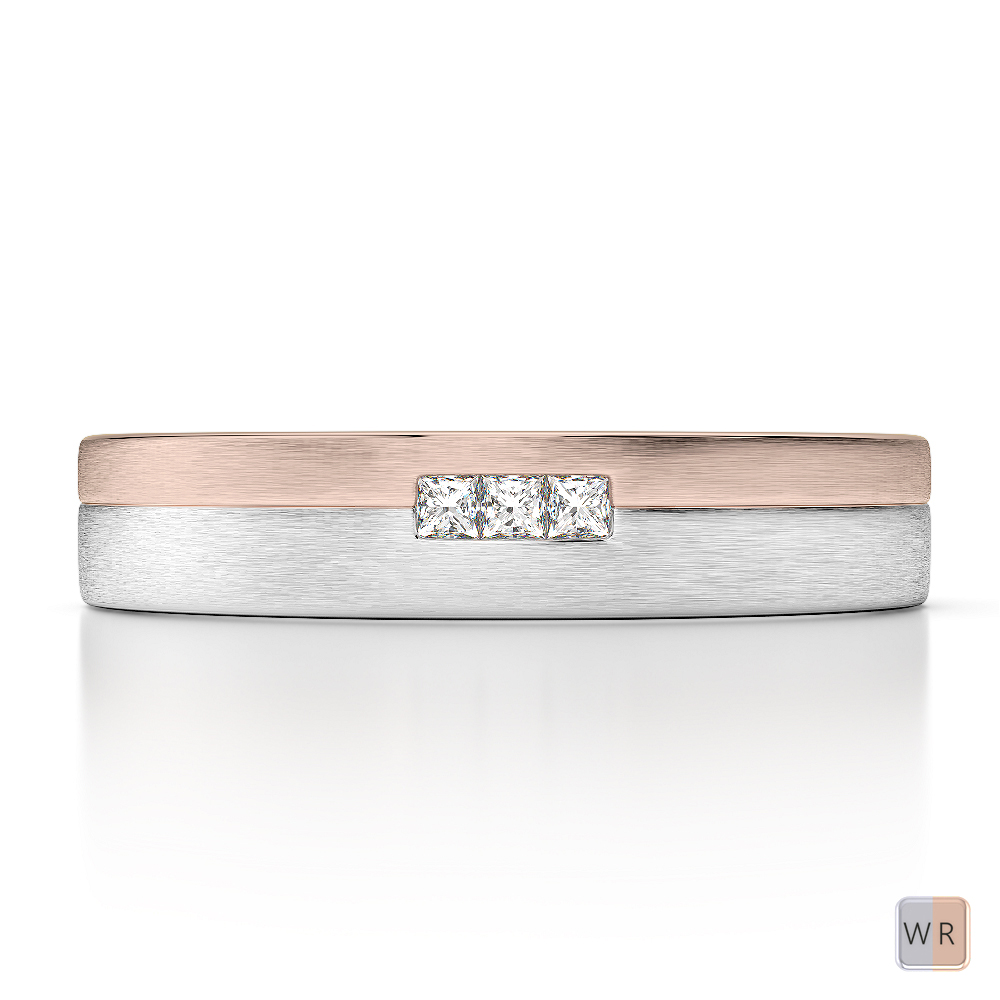 White & Rose Gold Mens Fusion Diamond Wedding Ring AGDR-1294