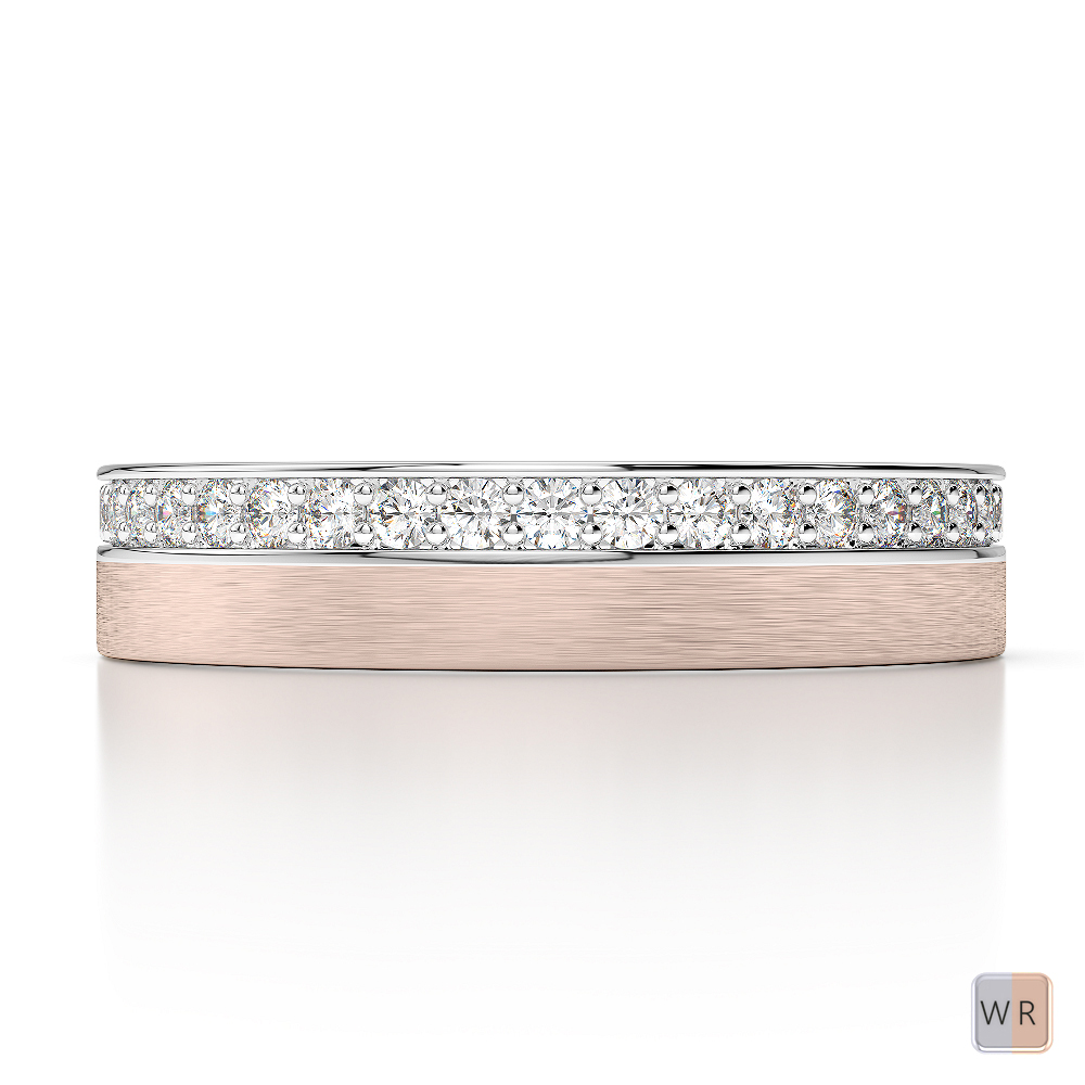 White & Rose Gold Mens Fusion Diamond Wedding Ring AGDR-1296