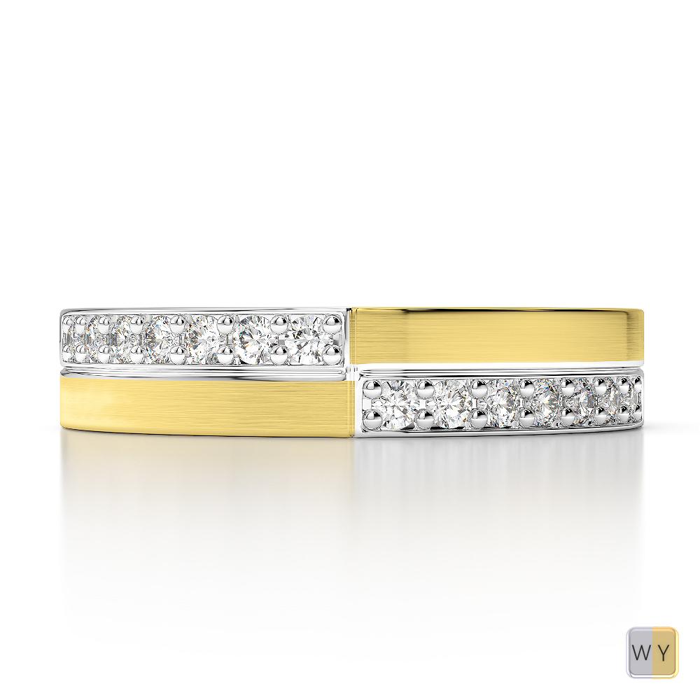 White & Yellow Gold Mens Fusion Diamond Wedding Ring AGDR-1303