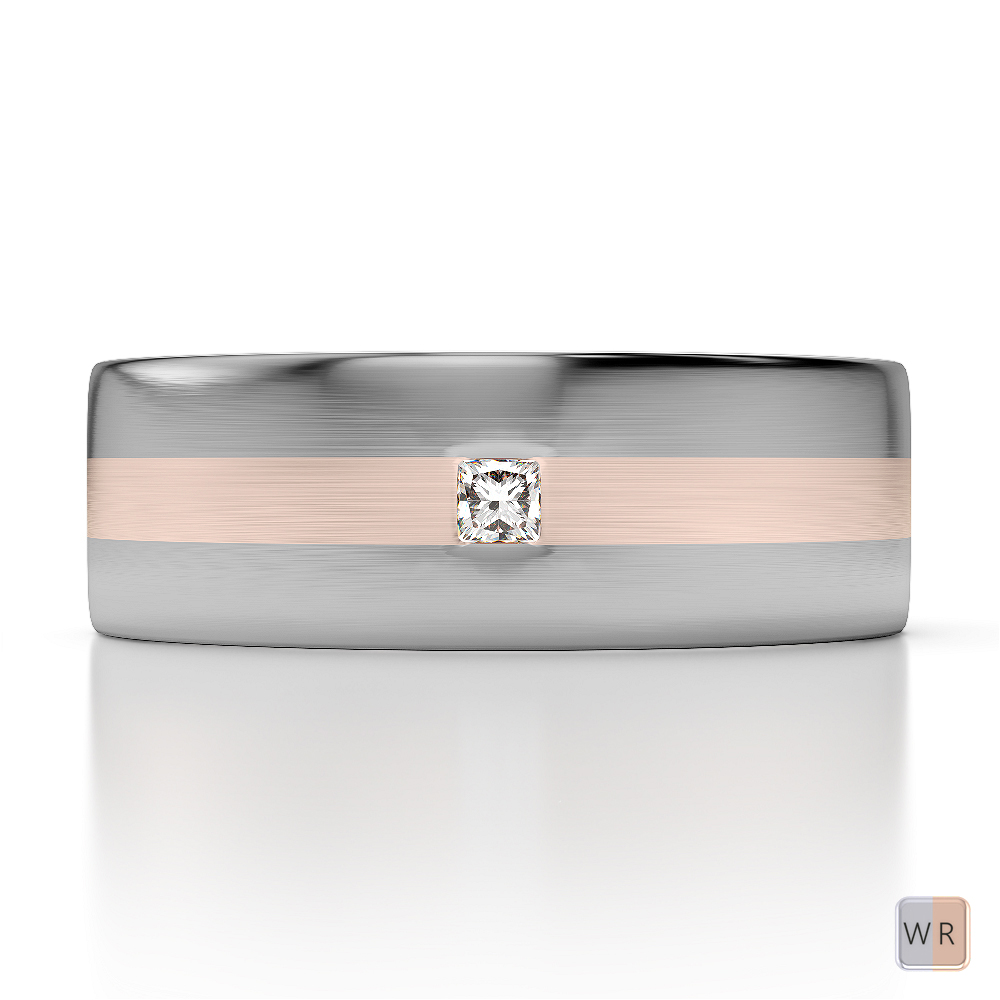 White & Rose Gold Mens Fusion Diamond Wedding Ring AGDR-1304