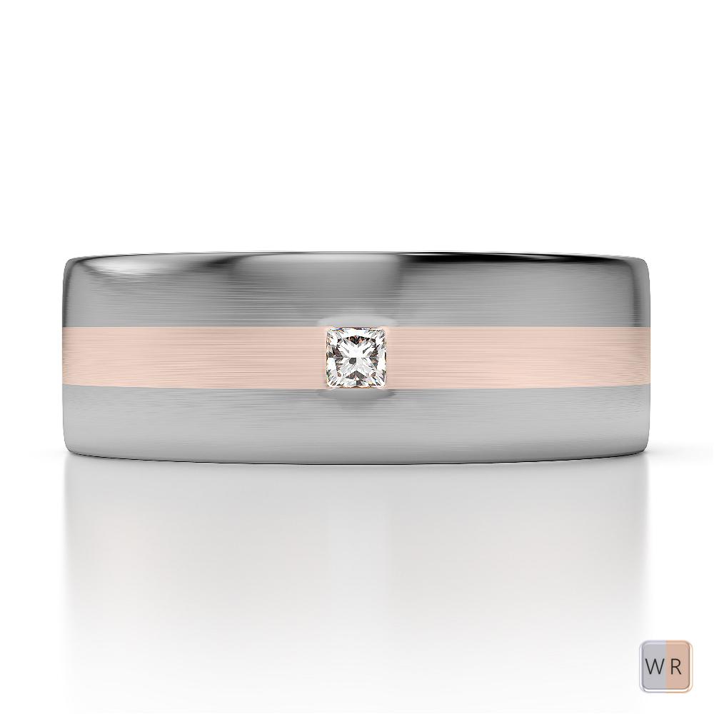 White & Rose Gold Mens Fusion Diamond Wedding Ring AGDR-1304
