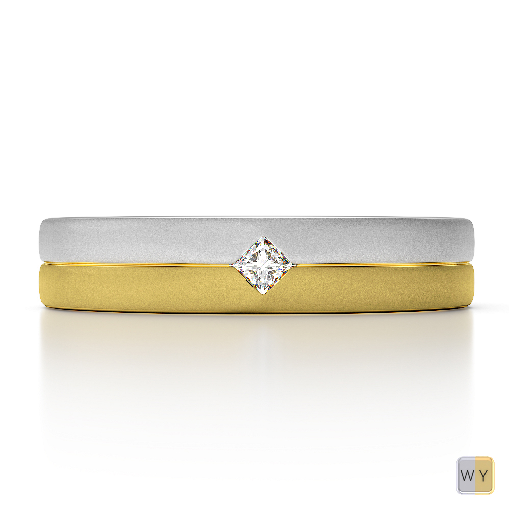 White & Yellow Gold Mens Fusion Diamond Wedding Ring AGDR-1329
