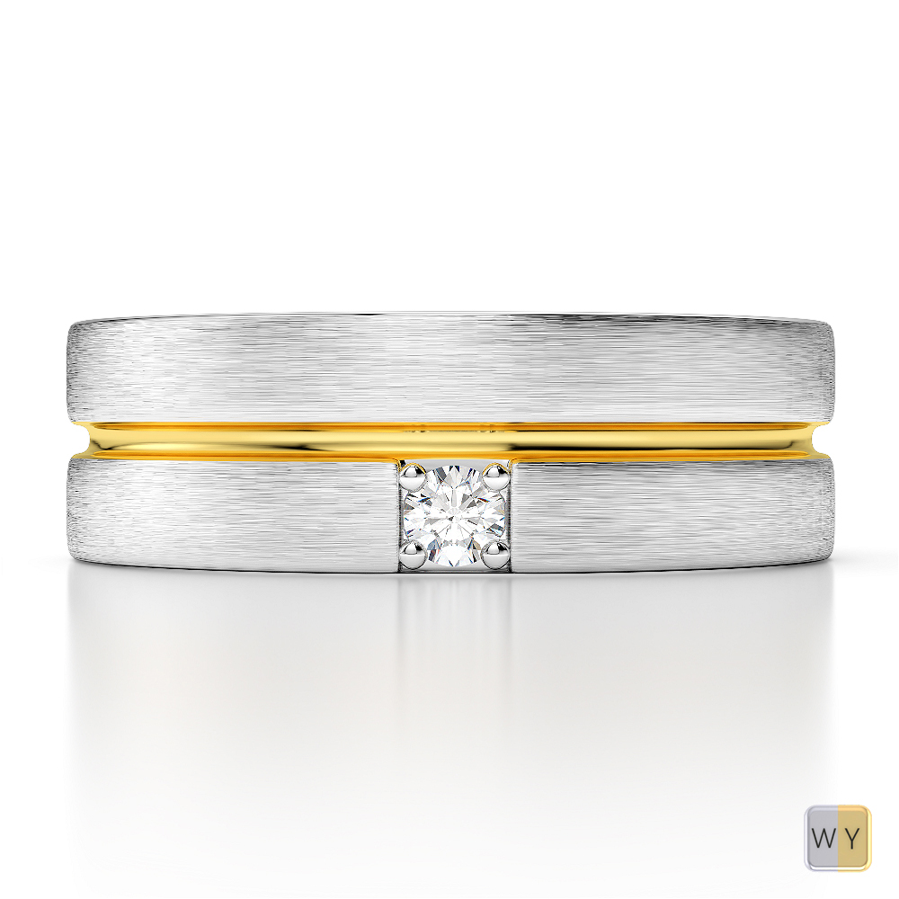 White & Yellow Gold Mens Fusion Diamond Wedding Ring AGDR-1331