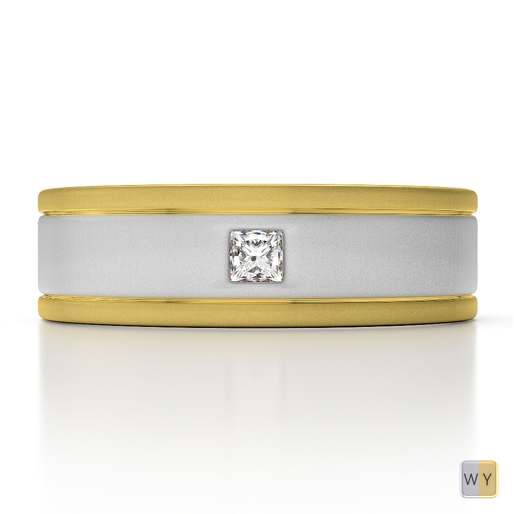 White & Yellow Gold Mens Fusion Diamond Wedding Ring AGDR-1332