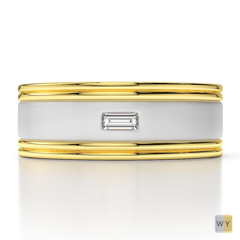 White & Yellow Gold Mens Fusion Diamond Wedding Ring AGDR-1333