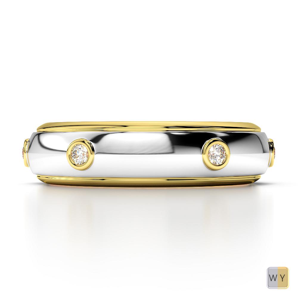 White & Yellow Gold Mens Fusion Diamond Wedding Ring AGDR-1336