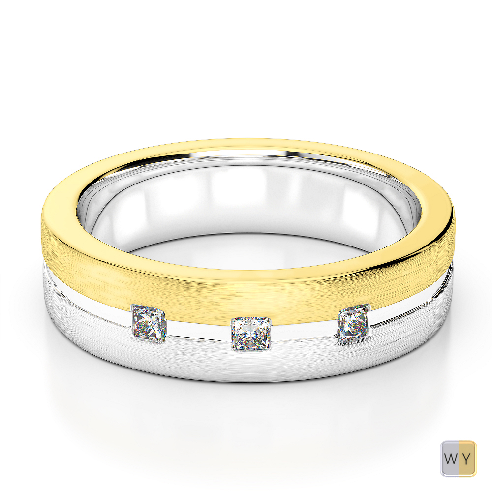 White & Yellow Gold Mens Fusion Diamond Wedding Ring AGDR-1337