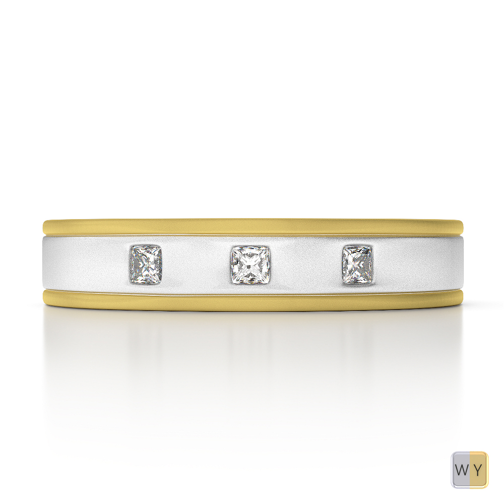 White & Yellow Gold Mens Fusion Diamond Wedding Ring AGDR-1338