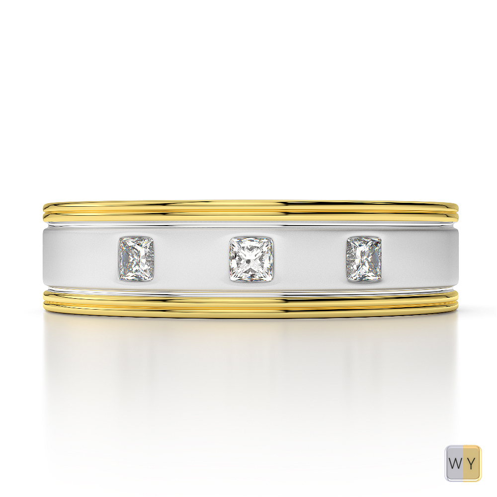 White & Yellow Gold Mens Fusion Diamond Wedding Ring AGDR-1339