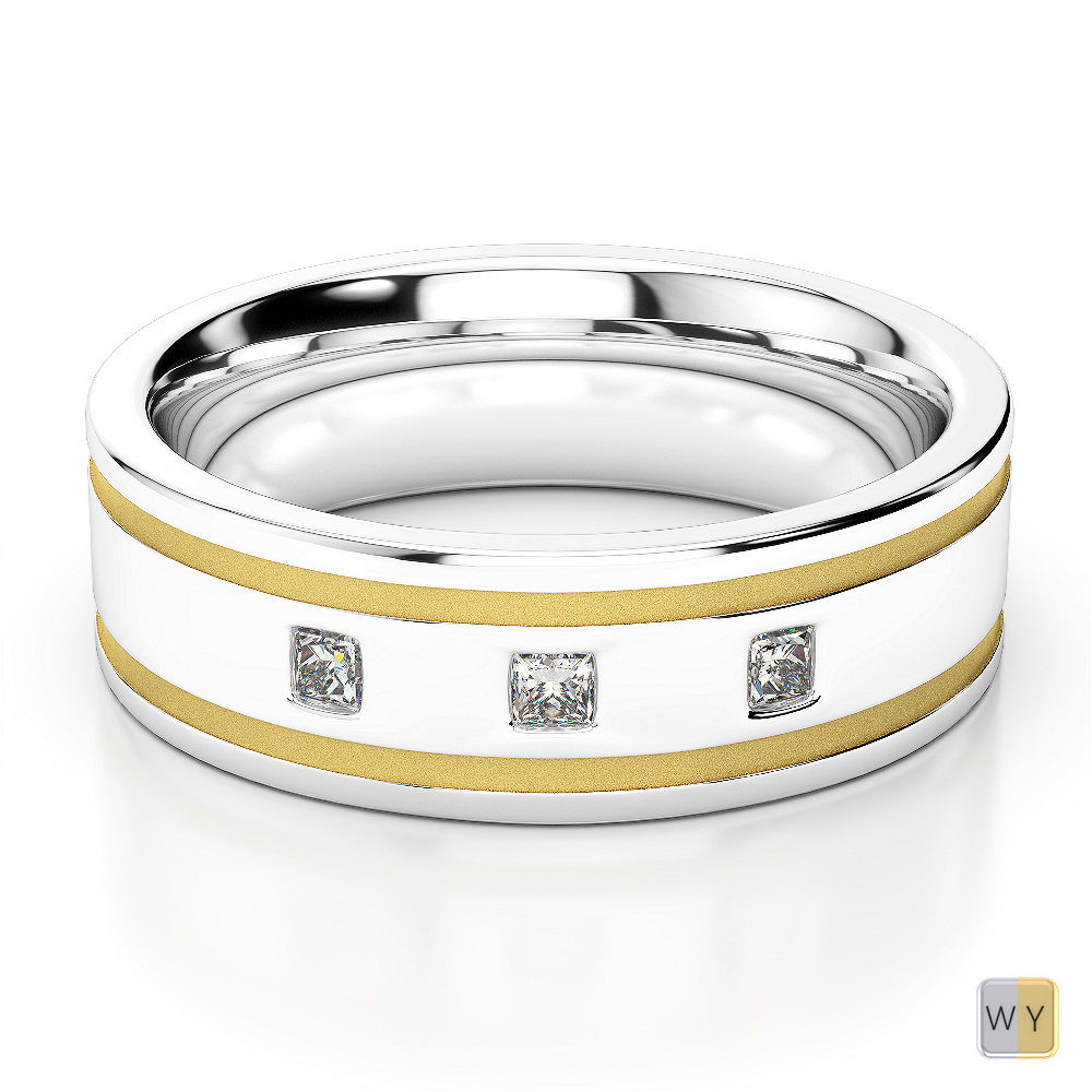 White & Yellow Gold Mens Fusion Diamond Wedding Ring AGDR-1340