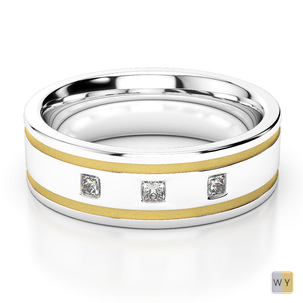 White & Yellow Gold Mens Fusion Diamond Wedding Ring AGDR-1340