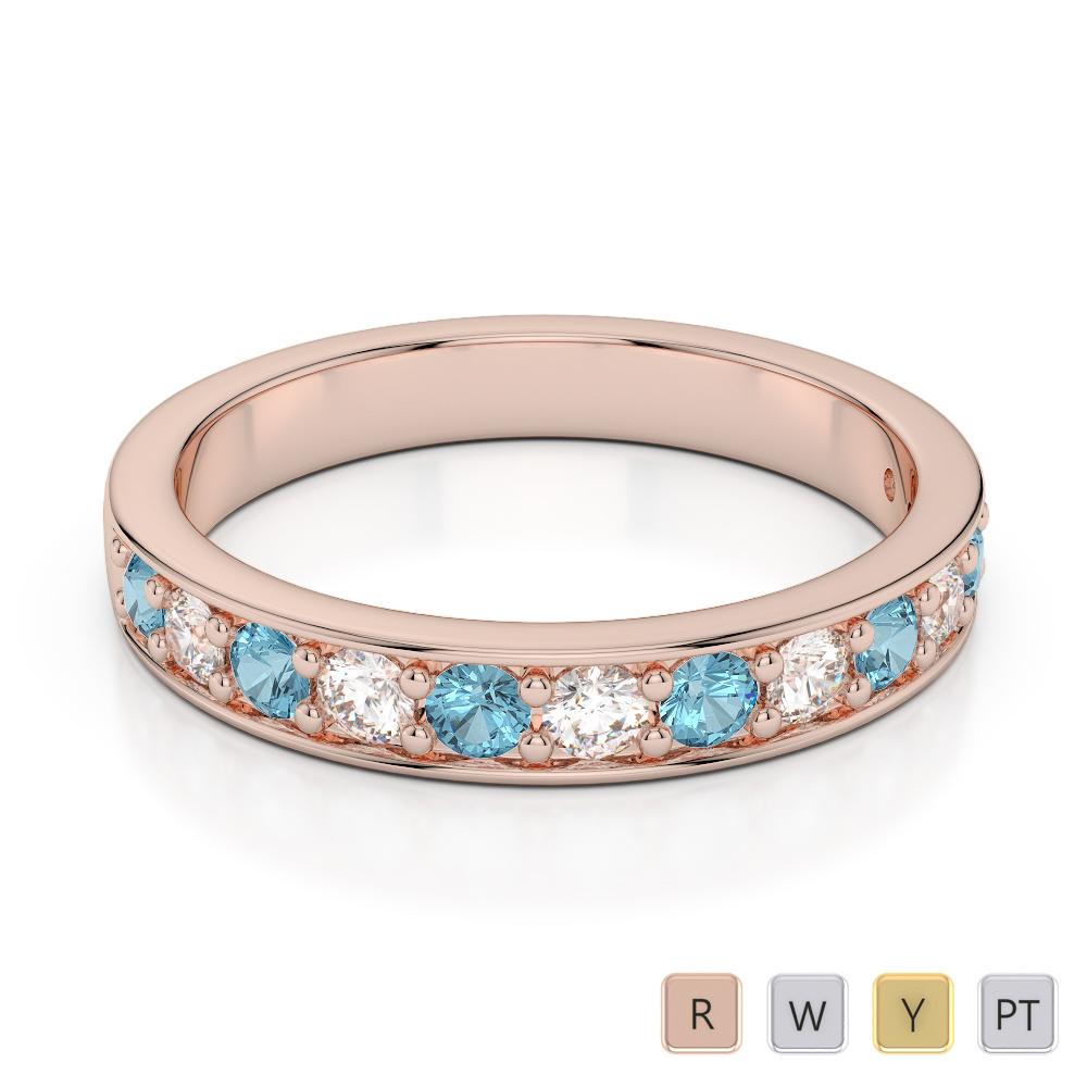 3 MM Gold / Platinum Round Cut Aquamarine and Diamond Half  Eternity Ring AGDR-1084