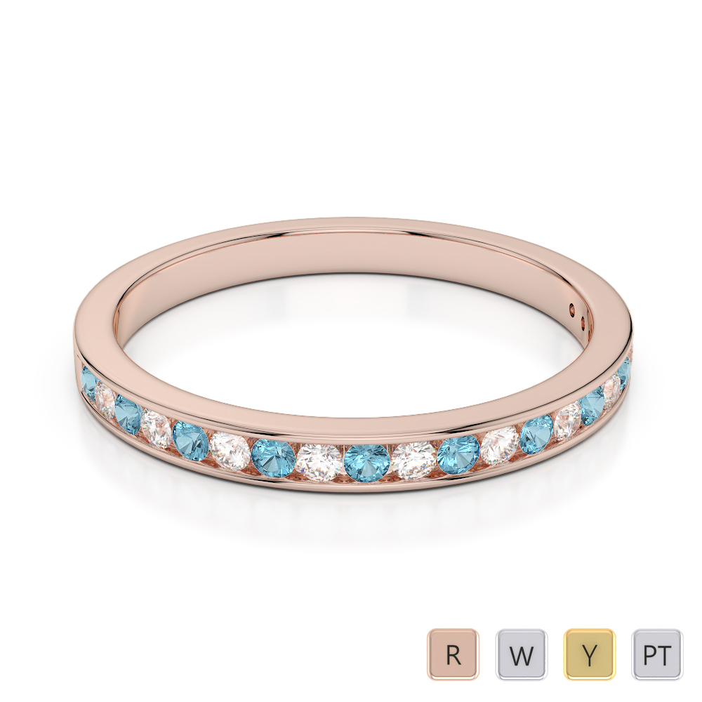2.5 MM Gold / Platinum Round Cut Aquamarine and Diamond Half Eternity Ring AGDR-1089