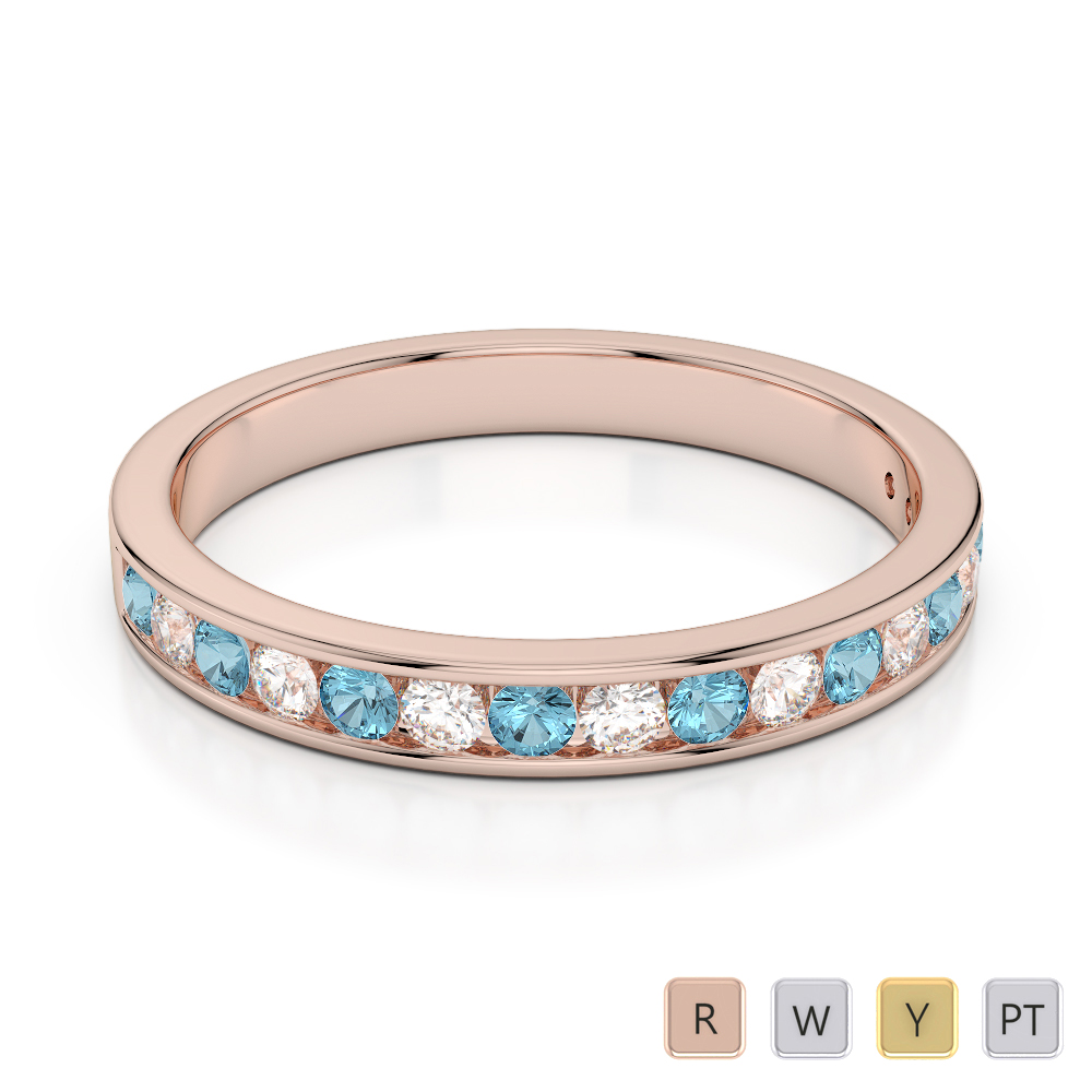 3 MM Gold / Platinum Round Cut Aquamarine and Diamond Half Eternity Ring AGDR-1090