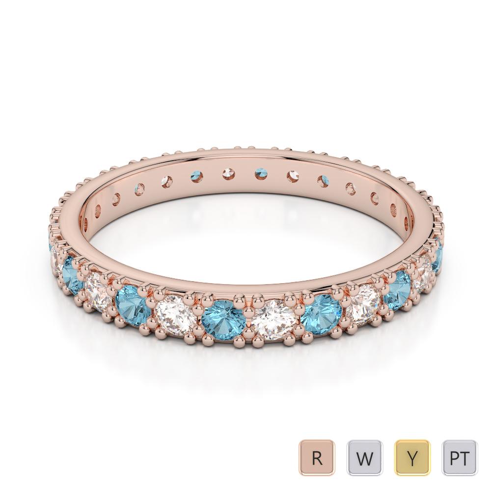 2.5 MM Gold / Platinum Round Cut Aquamarine and Diamond Full Eternity Ring AGDR-1127