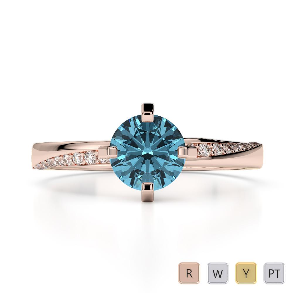 Gold / Platinum Round Cut Aquamarine and Diamond Engagement Ring AGDR-2002